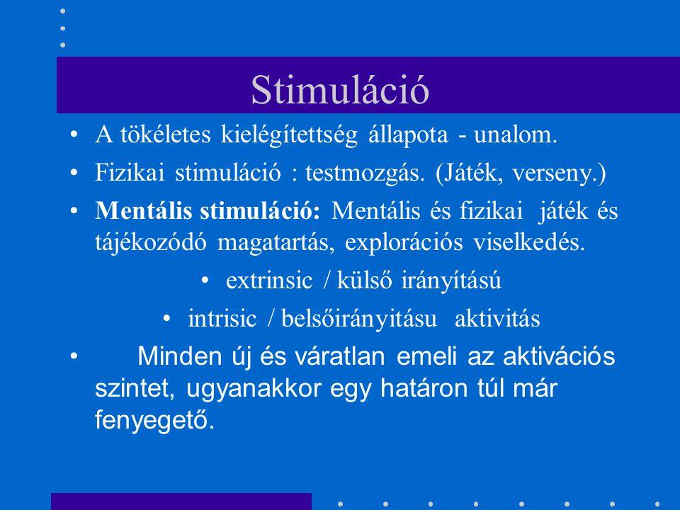 Stimuláció A tökéletes kielégítettség állapota - unalom.
