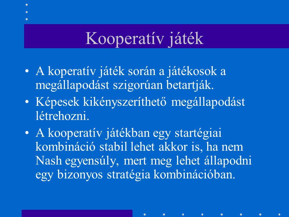 Kooperatív játék A koperatív játék során a játékosok a megállapodást szigorúan betartják. Képesek kikényszeríthető megállapodást létrehozni.