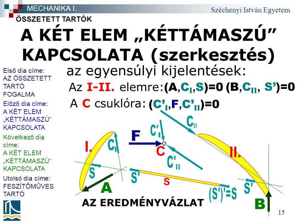 """A KÉT ELEM """"KÉTTÁMASZÚ KAPCSOLATA (szerkesztés)"""