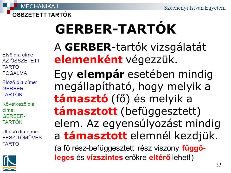 GERBER-TARTÓK A GERBER-tartók vizsgálatát elemenként végezzük.