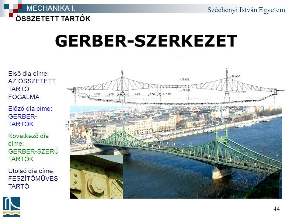 GERBER-SZERKEZET MECHANIKA I. ÖSSZETETT TARTÓK
