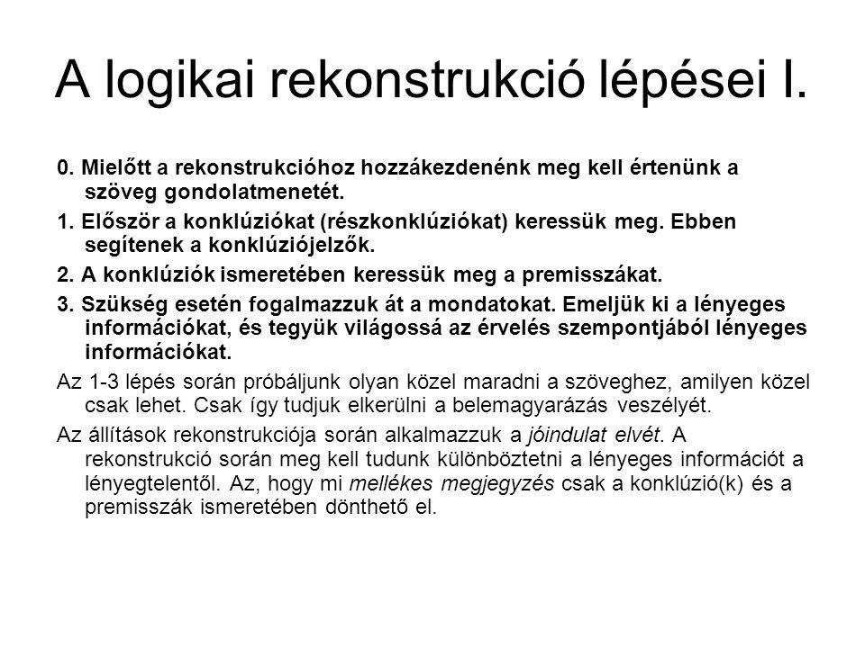 A logikai rekonstrukció lépései I.
