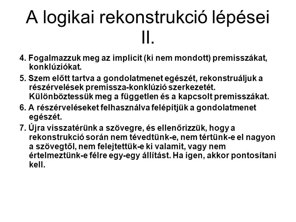 A logikai rekonstrukció lépései II.