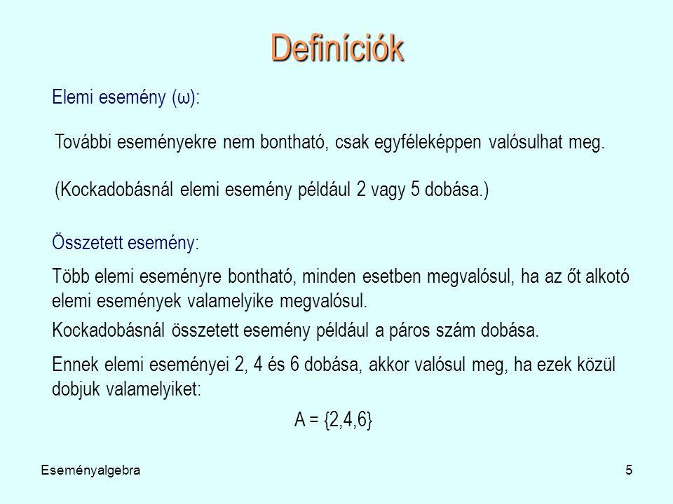 Definíciók Elemi esemény (ω):