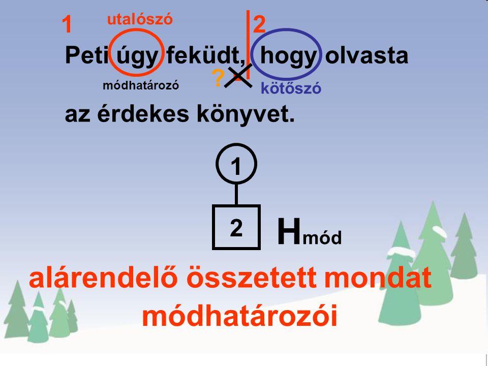 . Hmód alárendelő összetett mondat módhatározói 1 2