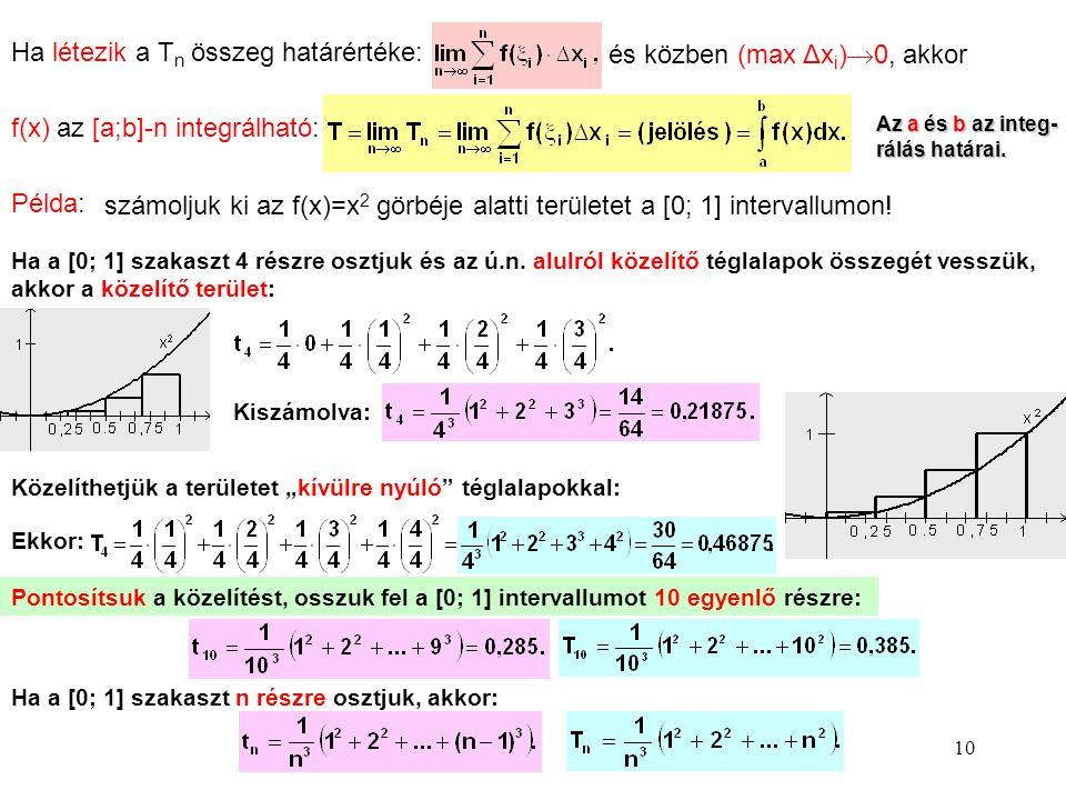Ha létezik a Tn összeg határértéke: és közben (max Δxi)0, akkor