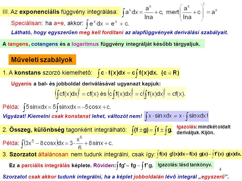 Műveleti szabályok III. Az exponenciális függvény integrálása: