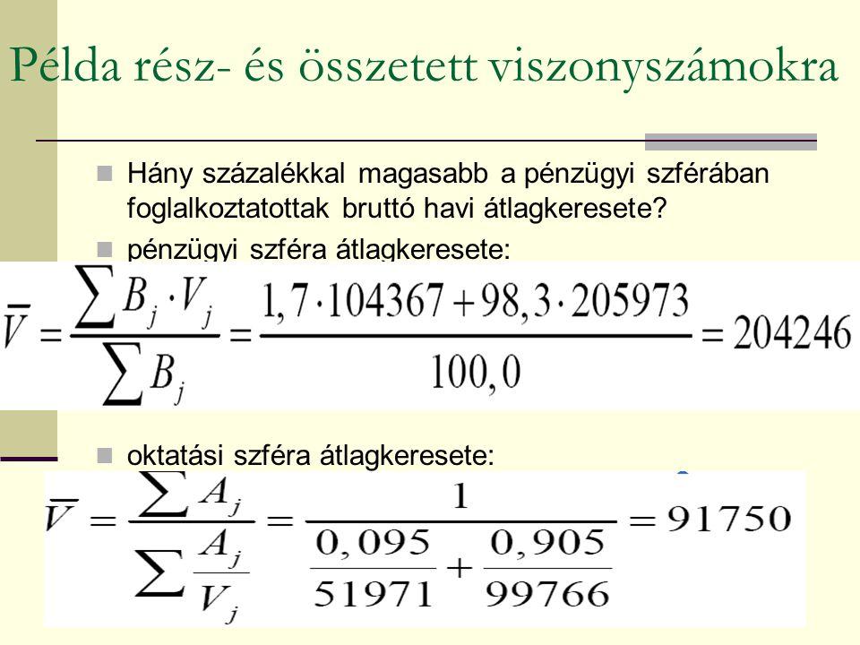 Példa rész- és összetett viszonyszámokra
