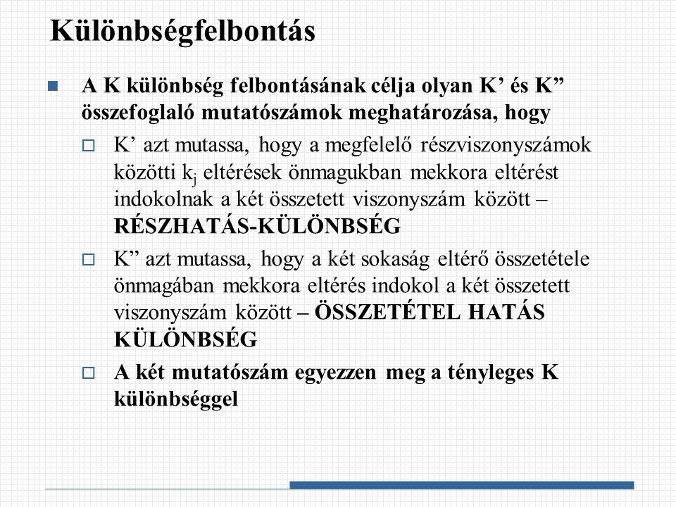 Különbségfelbontás A K különbség felbontásának célja olyan K' és K összefoglaló mutatószámok meghatározása, hogy.