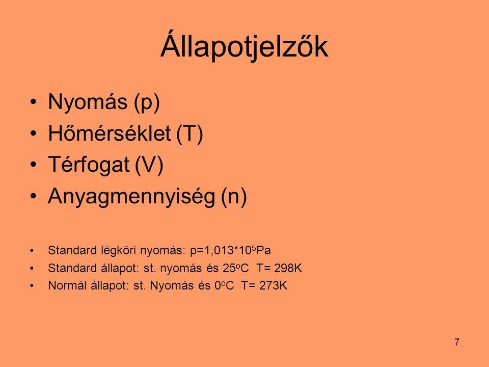 Állapotjelzők Nyomás (p) Hőmérséklet (T) Térfogat (V)