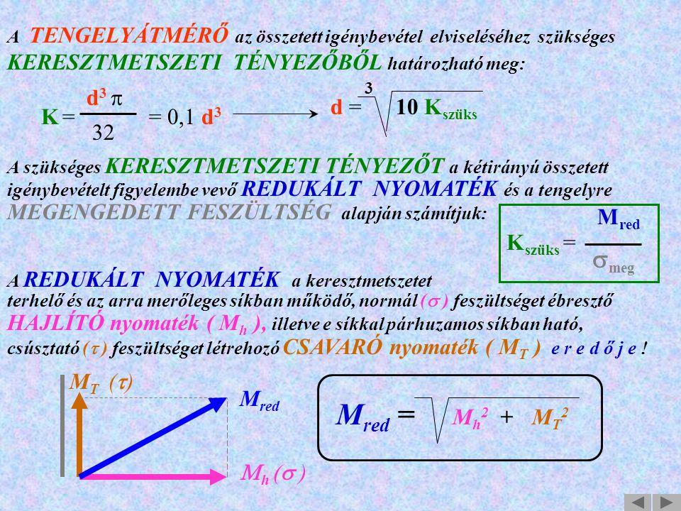 Mred = Mh2 + MT2 smeg KERESZTMETSZETI TÉNYEZŐBŐL határozható meg: 3