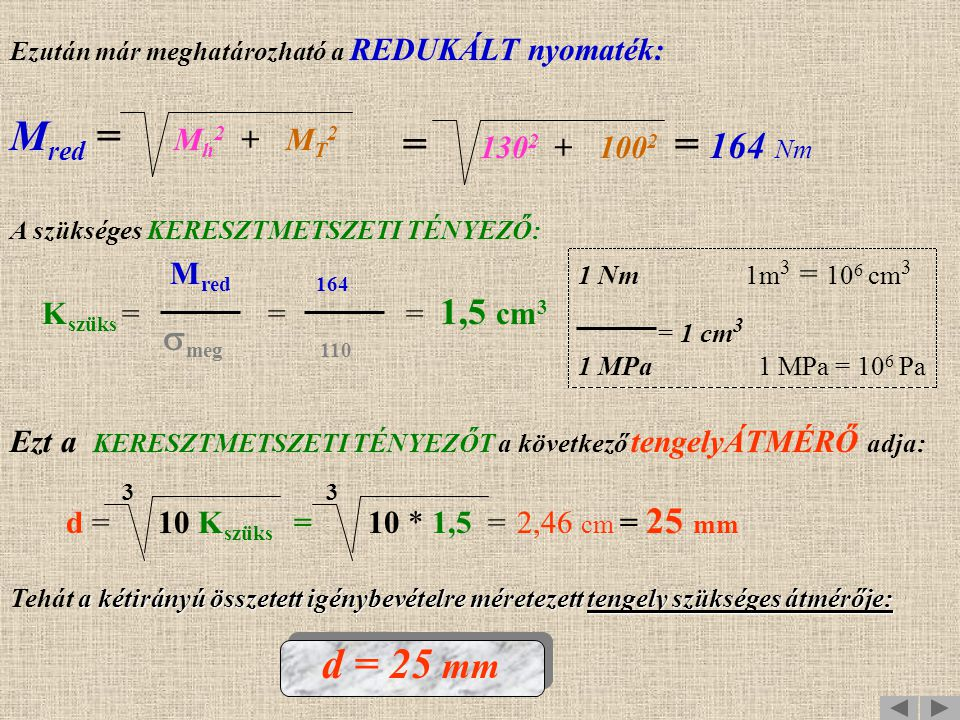 Mred = Mh2 + MT2 = 1302 + 1002 = 164 Nm d = 25 mm smeg 110 Mred 164
