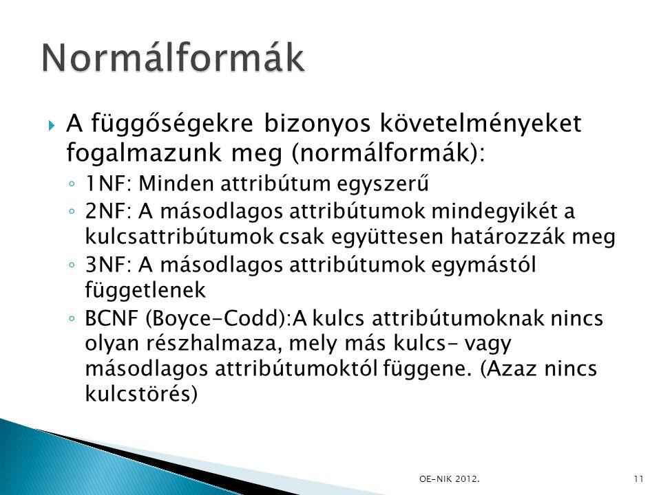 Normálformák A függőségekre bizonyos követelményeket fogalmazunk meg (normálformák): 1NF: Minden attribútum egyszerű.