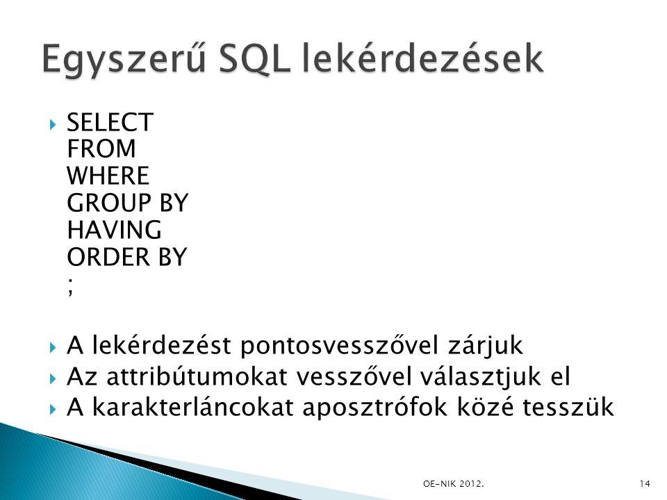 Egyszerű SQL lekérdezések
