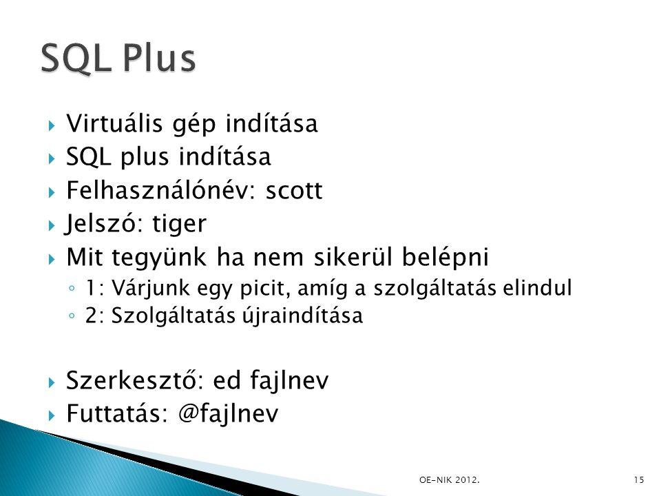 SQL Plus Virtuális gép indítása SQL plus indítása