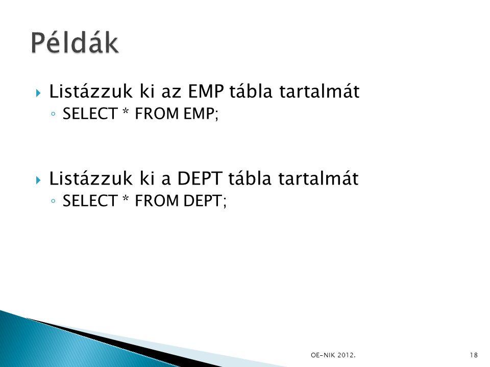 Példák Listázzuk ki az EMP tábla tartalmát
