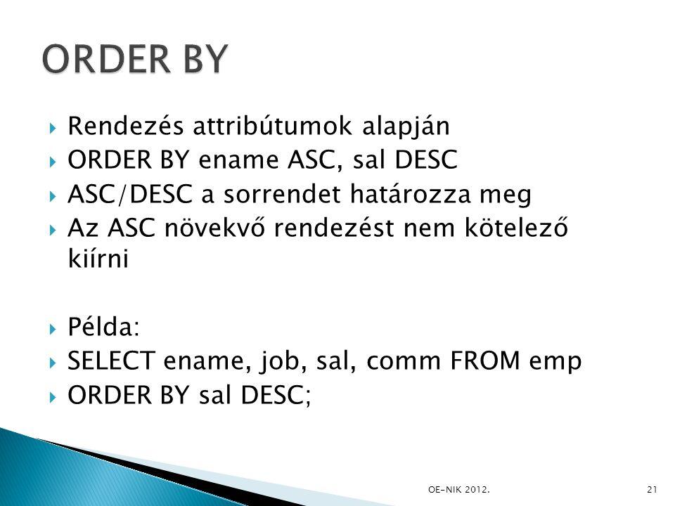 ORDER BY Rendezés attribútumok alapján ORDER BY ename ASC, sal DESC