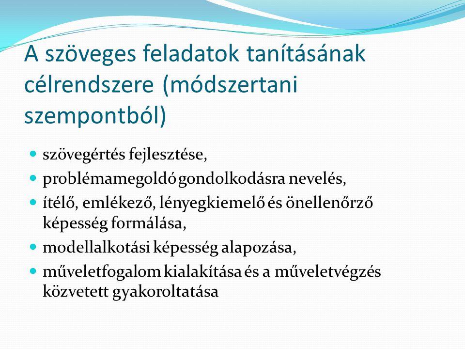 A szöveges feladatok tanításának célrendszere (módszertani szempontból)