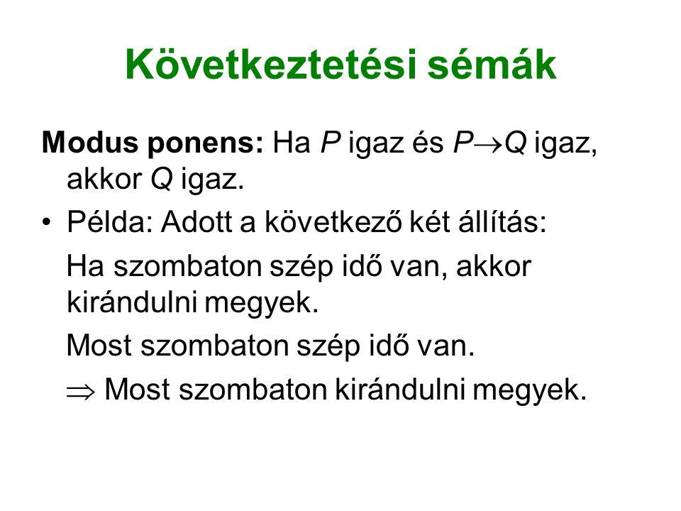 Következtetési sémák Modus ponens: Ha P igaz és PQ igaz, akkor Q igaz. Példa: Adott a következő két állítás: