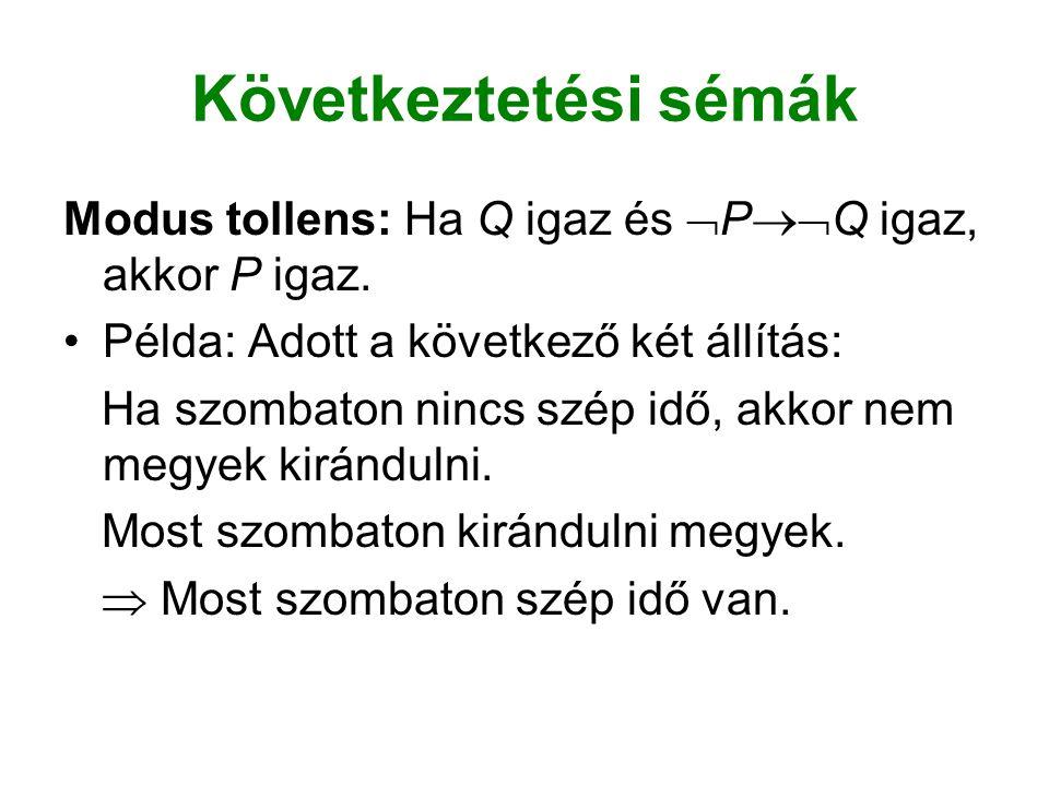 Következtetési sémák Modus tollens: Ha Q igaz és PQ igaz, akkor P igaz. Példa: Adott a következő két állítás: