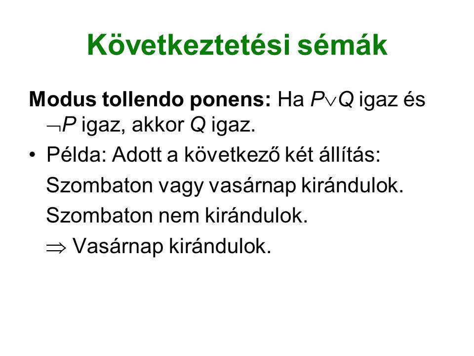 Következtetési sémák Modus tollendo ponens: Ha PQ igaz és P igaz, akkor Q igaz. Példa: Adott a következő két állítás: