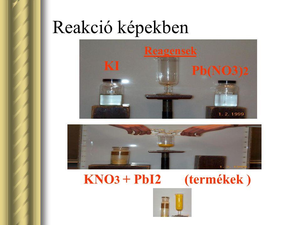Reakció képekben Reagensek KI Pb(NO3)2 KNO3 + PbI2 (termékek )
