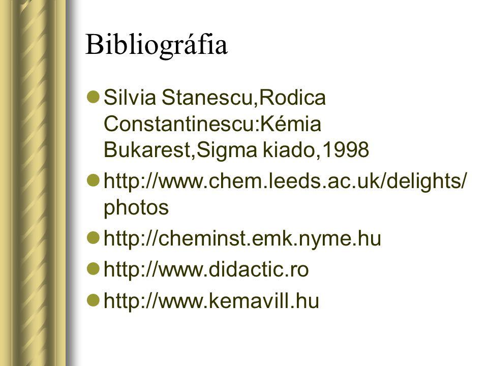 Bibliográfia Silvia Stanescu,Rodica Constantinescu:Kémia Bukarest,Sigma kiado,1998. http://www.chem.leeds.ac.uk/delights/photos.