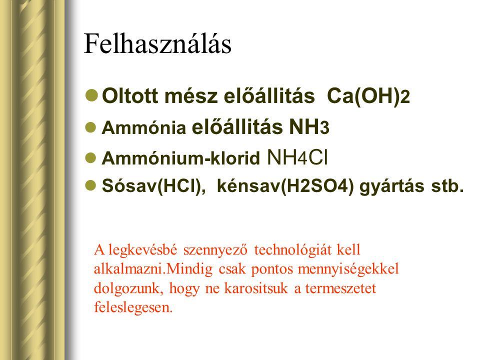 Felhasználás Oltott mész előállitás Ca(OH)2 Ammónia előállitás NH3
