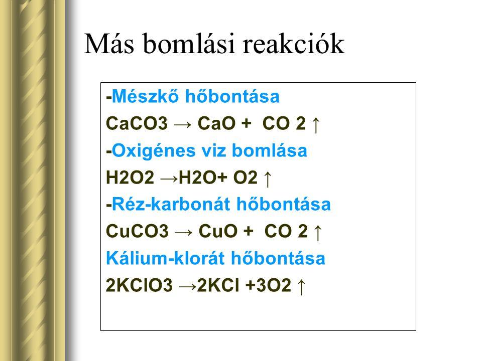 Más bomlási reakciók -Mészkő hőbontása CaCO3 → CaO + CO 2 ↑