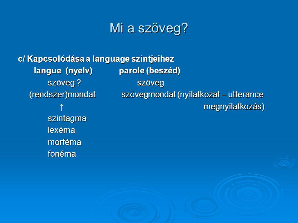 Mi a szöveg c/ Kapcsolódása a language szintjeihez