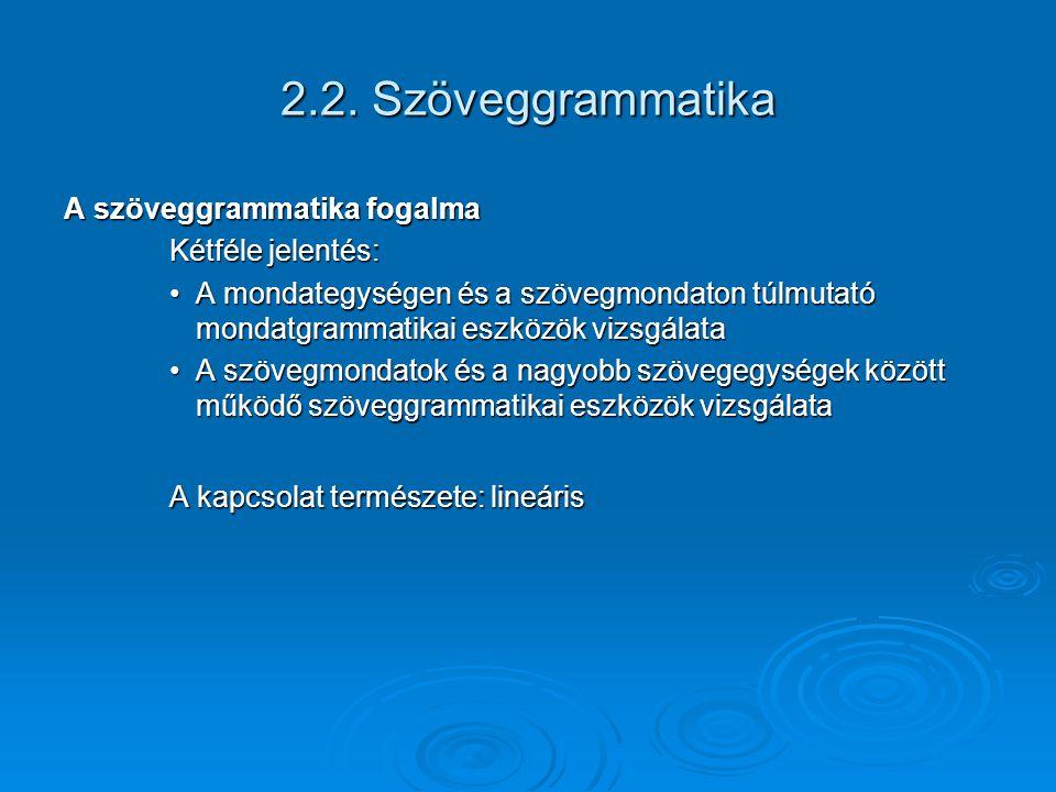 2.2. Szöveggrammatika A szöveggrammatika fogalma Kétféle jelentés:
