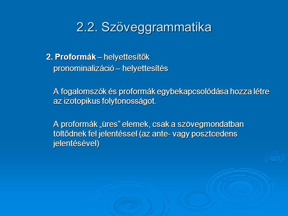 2.2. Szöveggrammatika 2. Proformák – helyettesítők