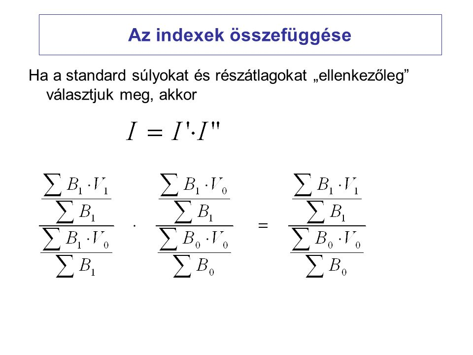 Az indexek összefüggése
