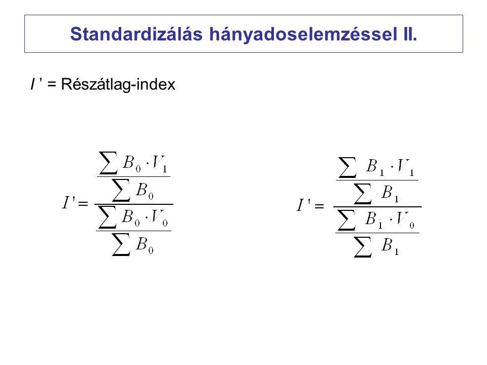 Standardizálás hányadoselemzéssel II.