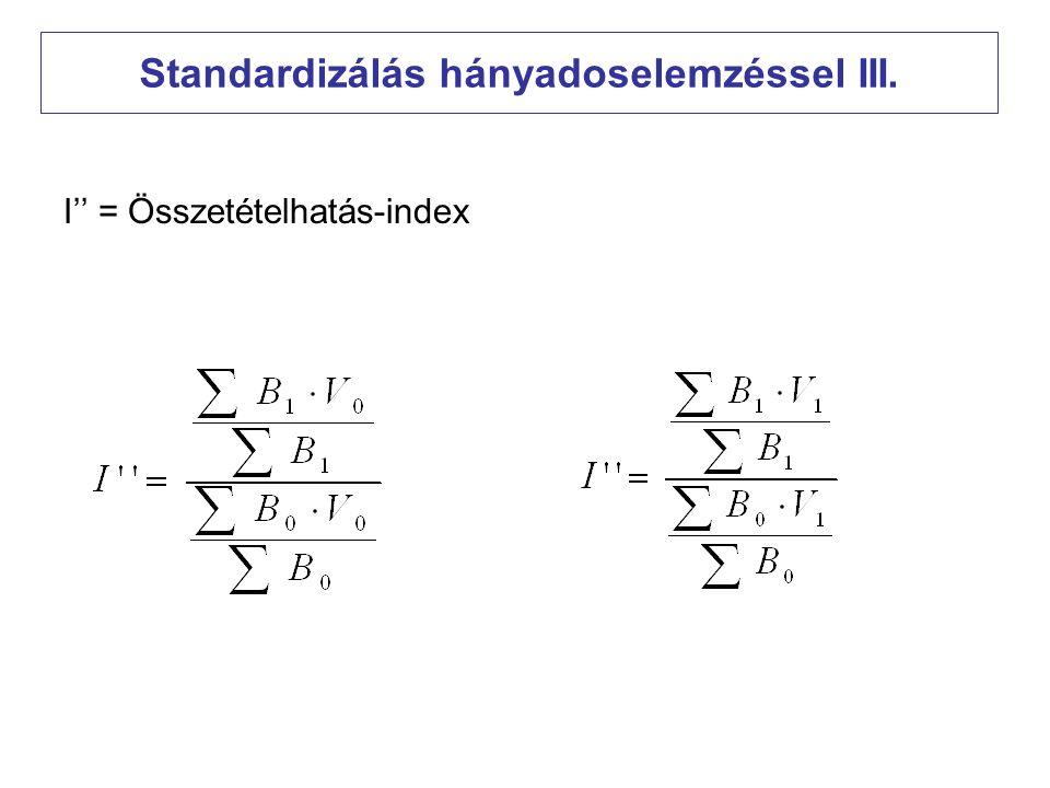 Standardizálás hányadoselemzéssel III.