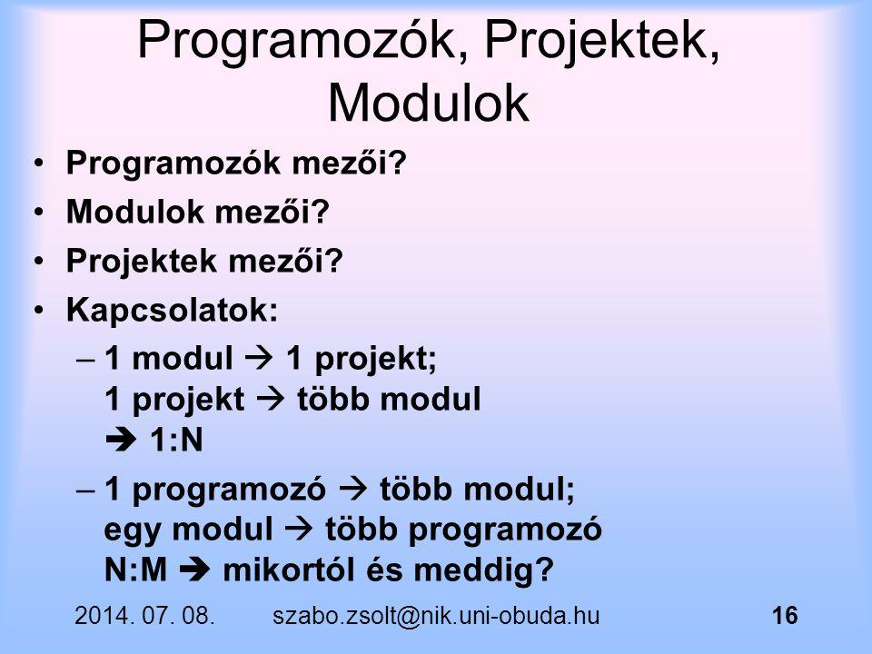 Programozók, Projektek, Modulok
