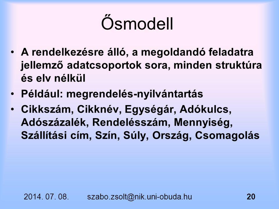 Ősmodell A rendelkezésre álló, a megoldandó feladatra jellemző adatcsoportok sora, minden struktúra és elv nélkül.