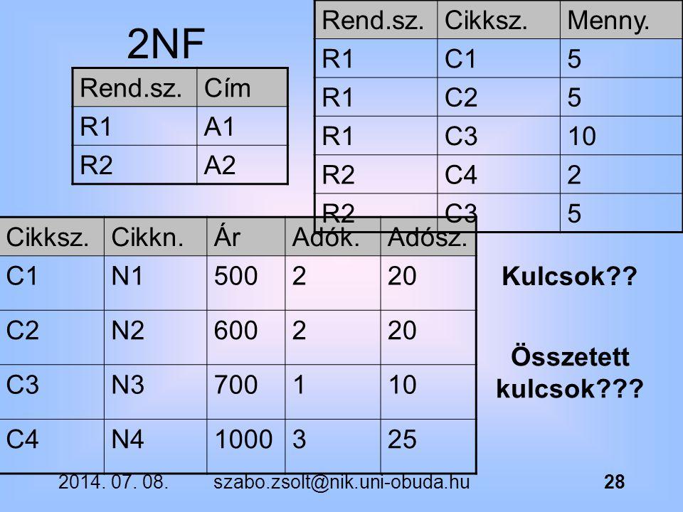 2NF Rend.sz. Cikksz. Menny. R1 C1 5 C2 C3 10 R2 C4 2 Rend.sz. Cím R1
