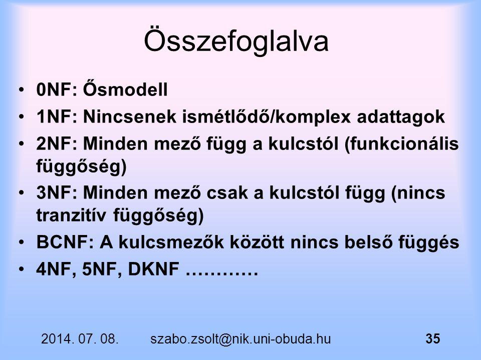 Összefoglalva 0NF: Ősmodell 1NF: Nincsenek ismétlődő/komplex adattagok