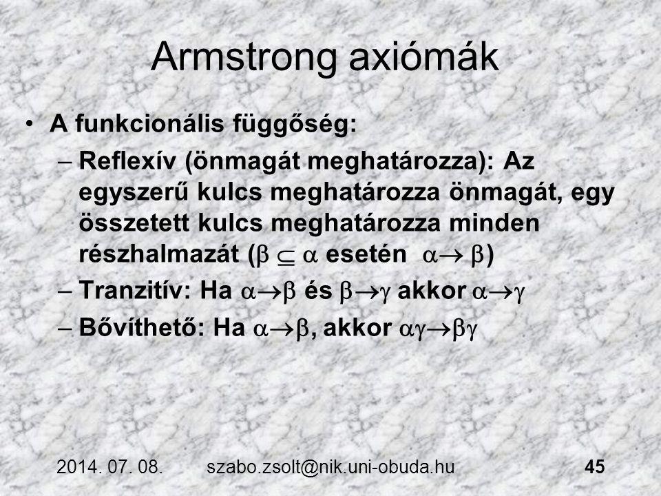 Armstrong axiómák A funkcionális függőség: