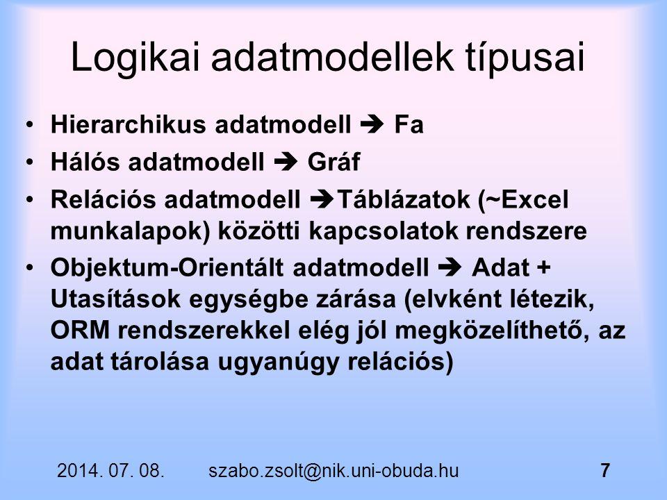 Logikai adatmodellek típusai