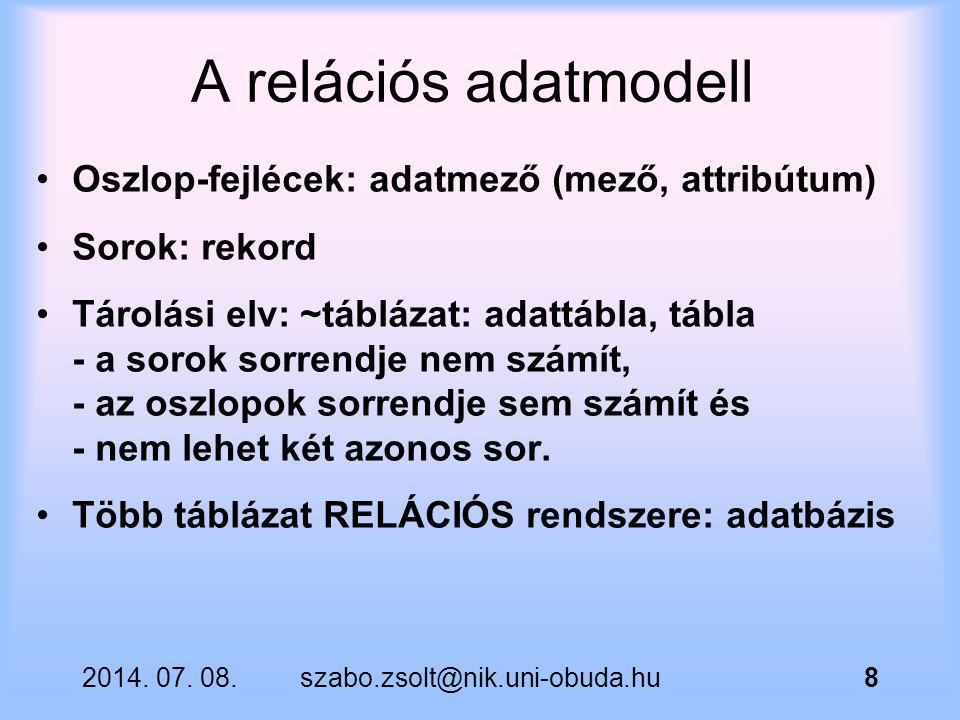 A relációs adatmodell Oszlop-fejlécek: adatmező (mező, attribútum)