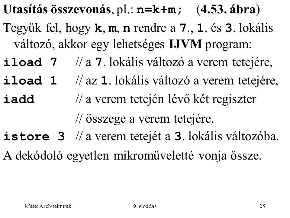 Utasítás összevonás, pl.: n=k+m; (4.53. ábra)