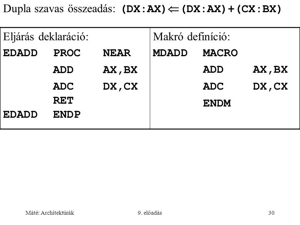 Dupla szavas összeadás: (DX:AX)(DX:AX)+(CX:BX) Eljárás deklaráció:
