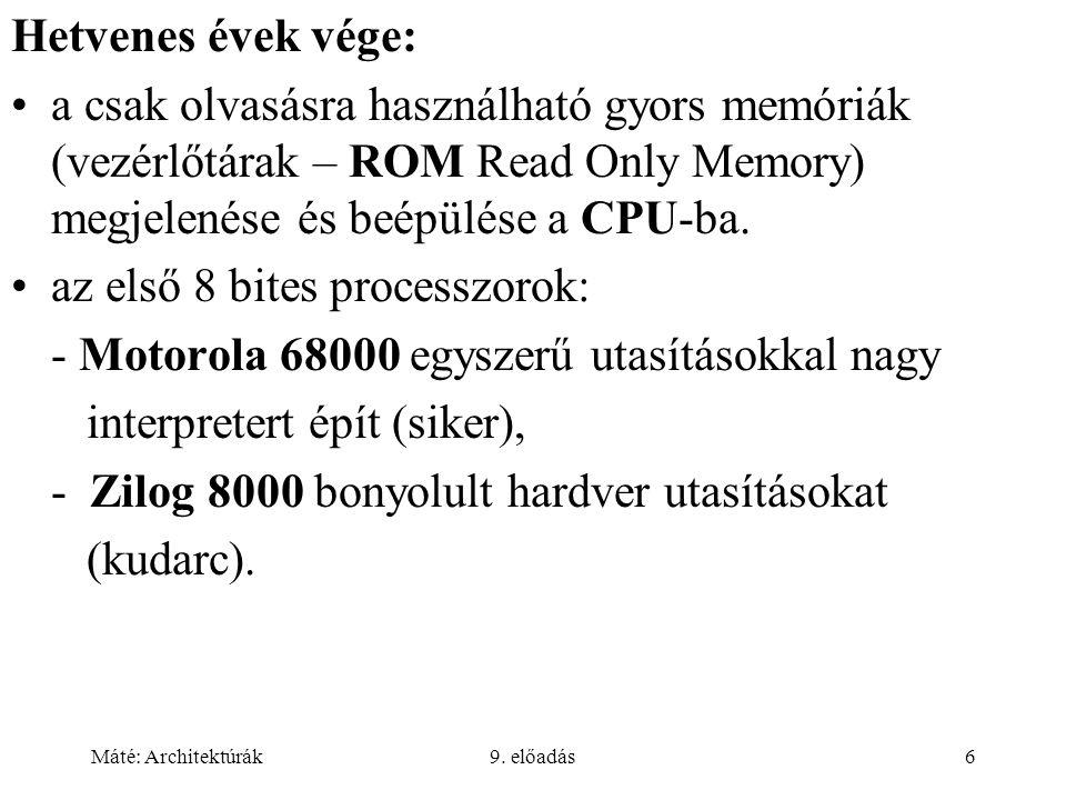 az első 8 bites processzorok: