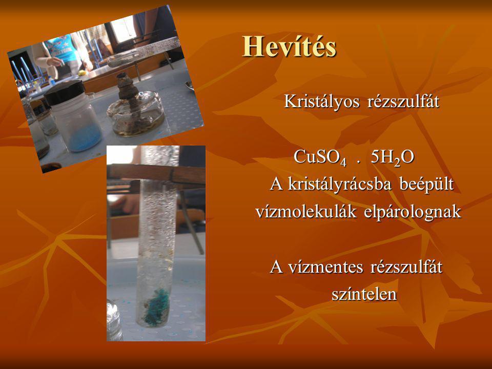 Hevítés Kristályos rézszulfát CuSO4 . 5H2O A kristályrácsba beépült