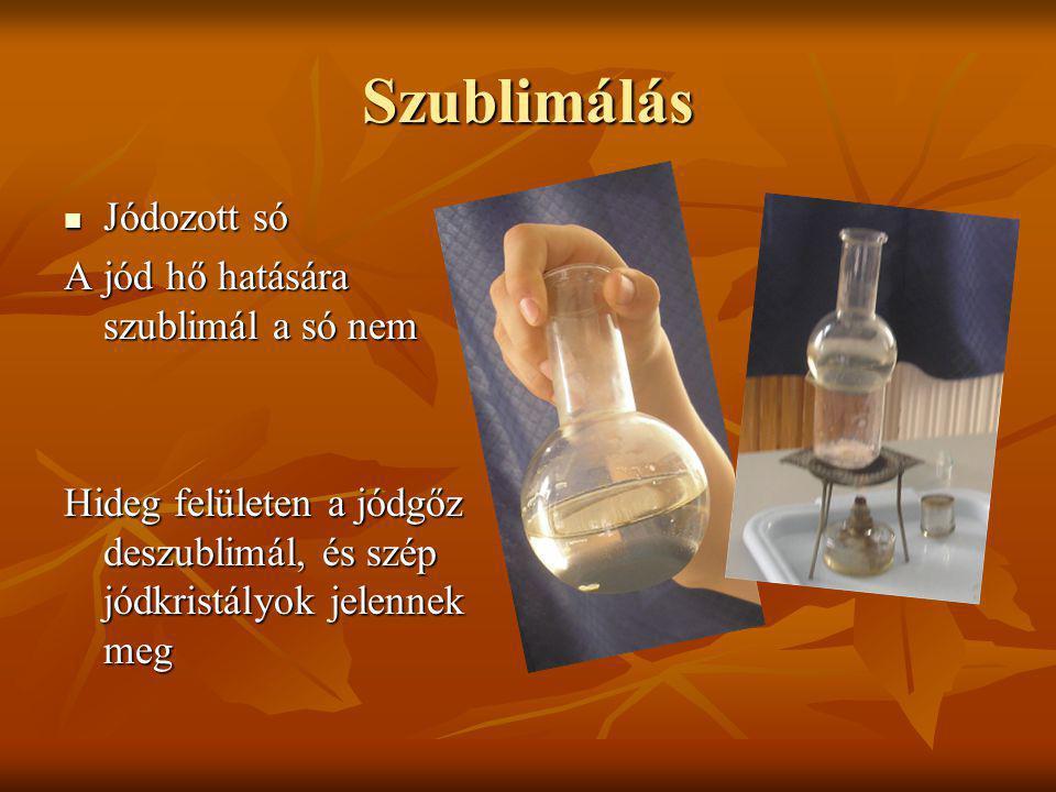 Szublimálás Jódozott só A jód hő hatására szublimál a só nem