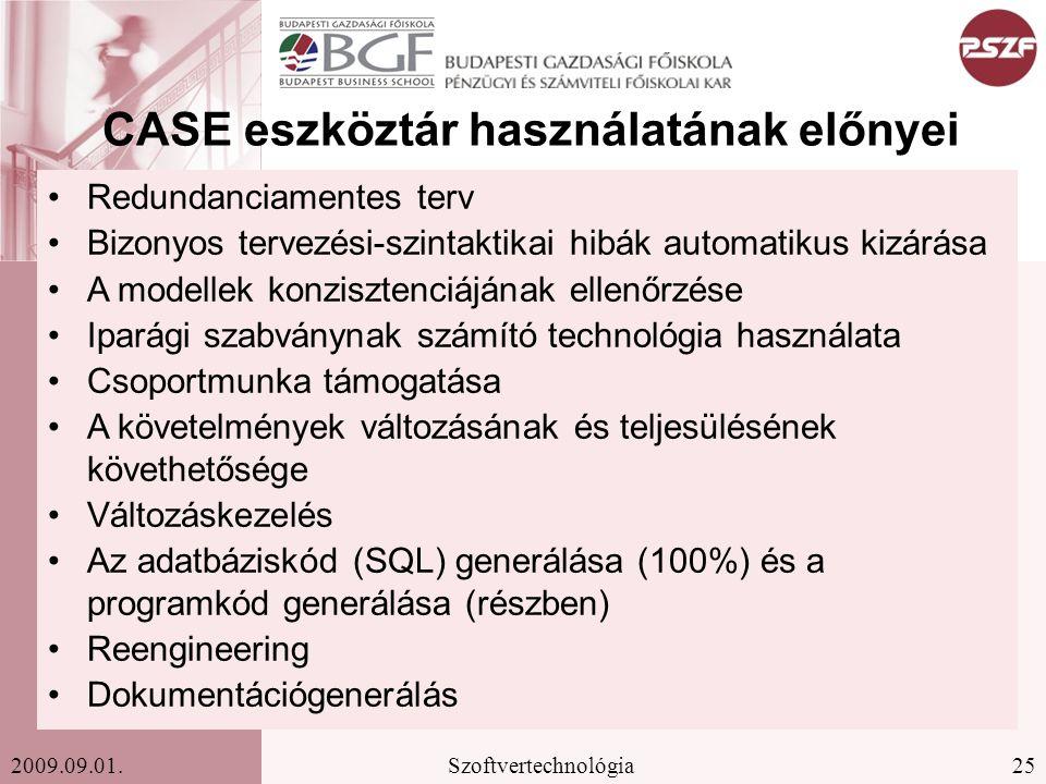 CASE eszköztár használatának előnyei