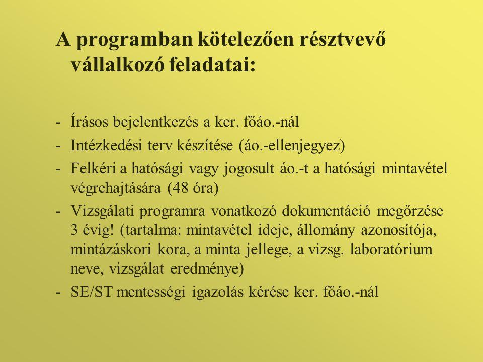 A programban kötelezően résztvevő vállalkozó feladatai: