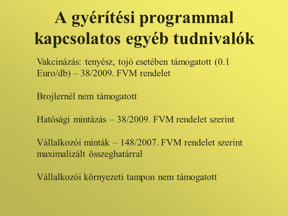 A gyérítési programmal kapcsolatos egyéb tudnivalók